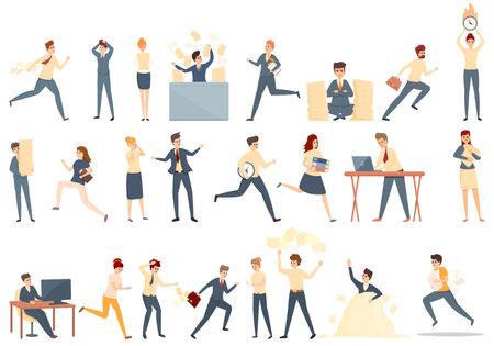 Rush job icons set. Cartoon set of rush job vector icons for web design