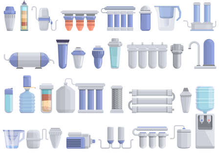 Equipment for water purification icons set. Cartoon set of equipment for water purification vector icons for web design