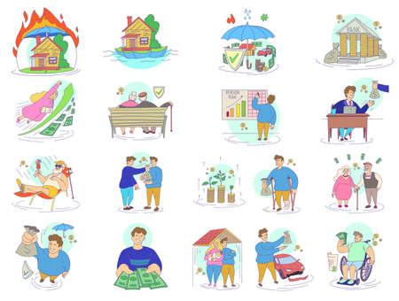 Compensation icons set. Cartoon set of compensation vector icons for web design