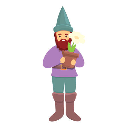 Garden gnome with flower pot icon. Cartoon of Garden gnome with flower pot vector icon for web design isolated on white background Vetores