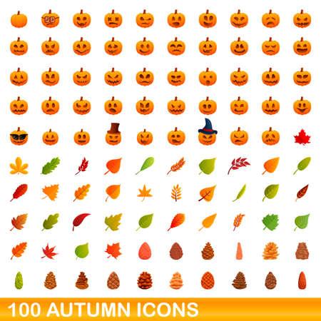 100 autumn icons set. Cartoon illustration of 100 autumn icons vector set isolated on white background