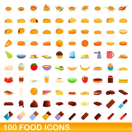 100 food icons set. Cartoon illustration of 100 food icons vector set isolated on white background Ilustração