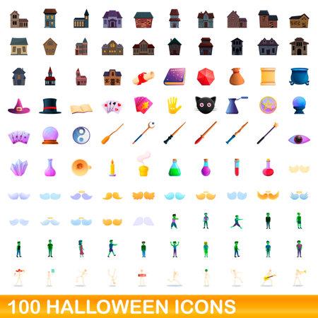 100 halloween icons set. Cartoon illustration of 100 halloween icons vector set isolated on white background