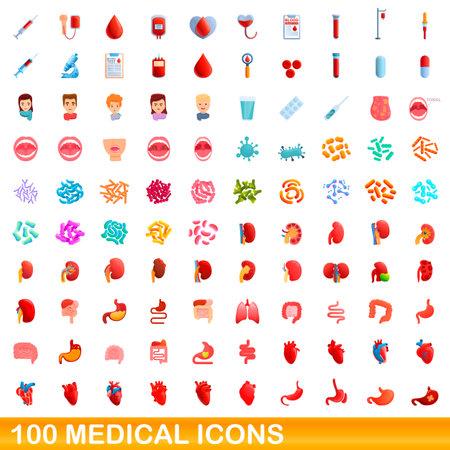 100 medical icons set. Cartoon illustration of 100 medical icons vector set isolated on white background Ilustração