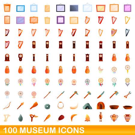 100 museum icons set. Cartoon illustration of 100 museum icons vector set isolated on white background Ilustração