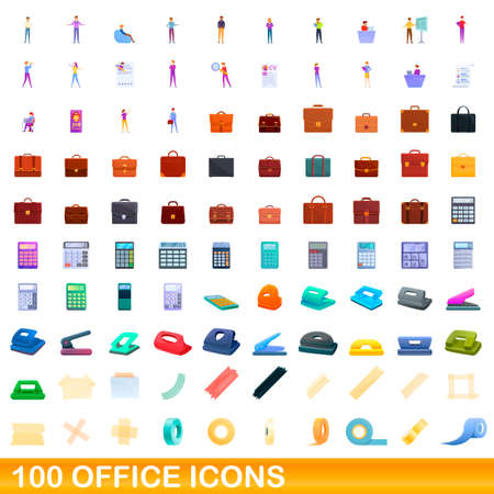 100 office icons set. Cartoon illustration of 100 office icons vector set isolated on white background