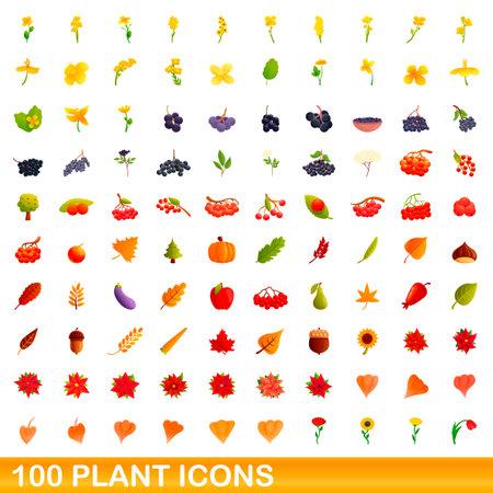 100 plant icons set. Cartoon illustration of 100 plant icons vector set isolated on white background Ilustração
