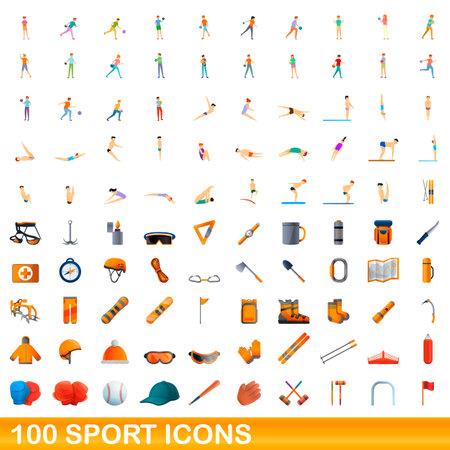 100 sport icons set. Cartoon illustration of 100 sport icons vector set isolated on white background Ilustração