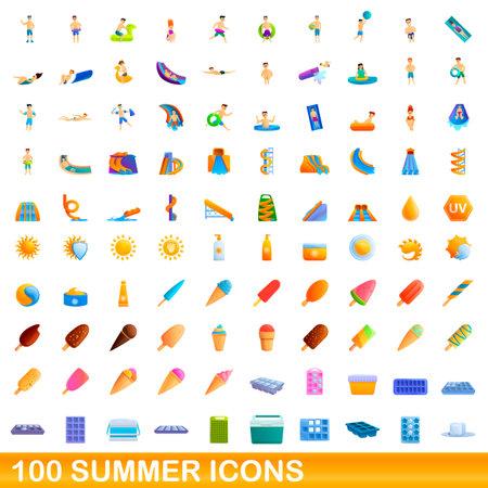 100 summer icons set. Cartoon illustration of 100 summer icons vector set isolated on white background