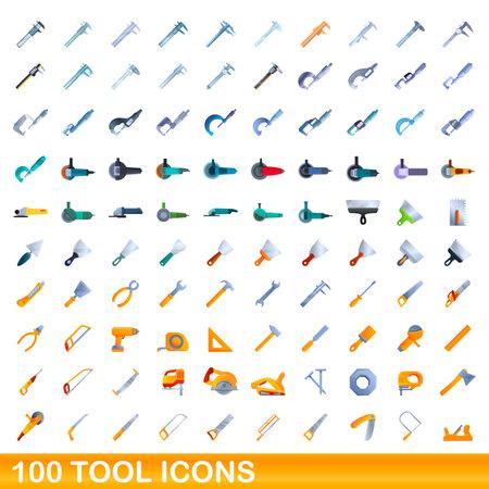 100 tool icons set. Cartoon illustration of 100 tool icons vector set isolated on white background Ilustração
