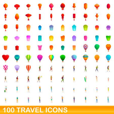 100 travel icons set. Cartoon illustration of 100 travel icons vector set isolated on white background