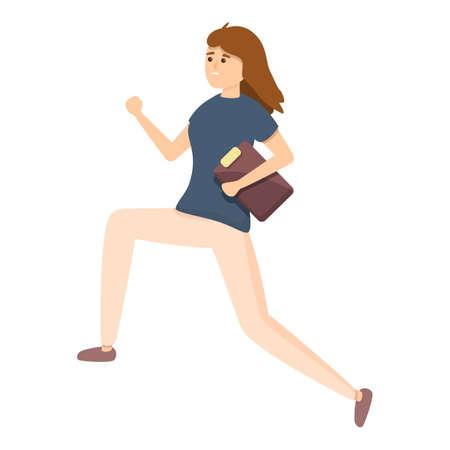 Rush job running woman icon. Cartoon of Rush job running woman vector icon for web design isolated on white background Vecteurs