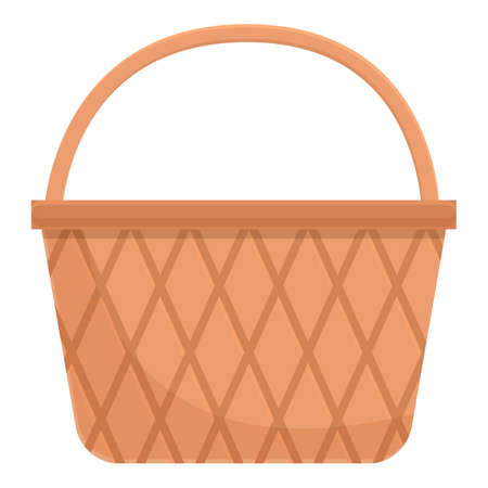 Wooden basket icon. Cartoon and flat of Wooden basket vector icon for web design isolated on white background