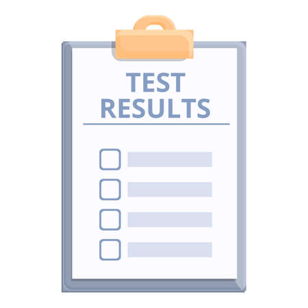Test result document icon. Cartoon and flat of Test result document vector icon for web design isolated on white background