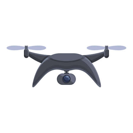 Black drone icon. Cartoon of Black drone vector icon for web design isolated on white background