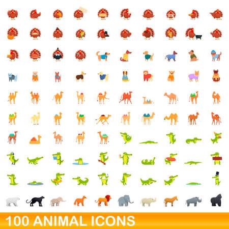 100 animal icons set. Cartoon illustration of 100 animal icons vector set isolated on white background Vettoriali