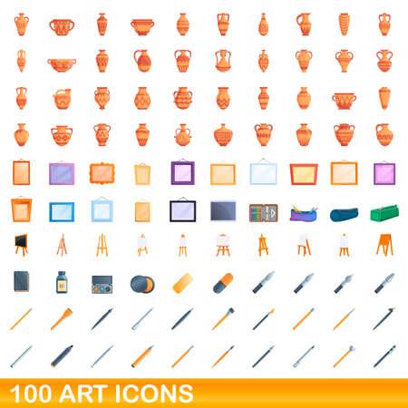 100 art icons set. Cartoon illustration of 100 art icons vector set isolated on white background Vettoriali