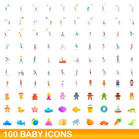 100 baby icons set. Cartoon illustration of 100 baby icons vector set isolated on white background Vettoriali