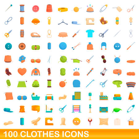 100 clothes icons set. Cartoon illustration of 100 clothes icons vector set isolated on white background