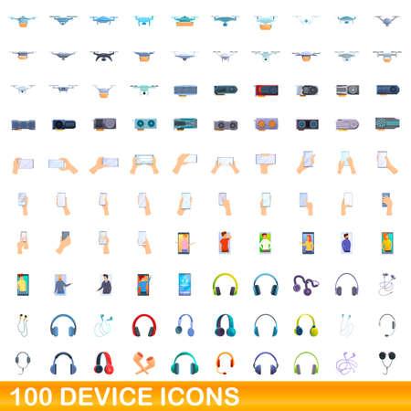 100 device icons set. Cartoon illustration of 100 device icons vector set isolated on white background