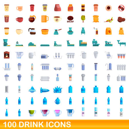 100 drink icons set. Cartoon illustration of 100 drink icons vector set isolated on white background Vettoriali