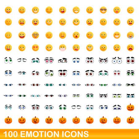 100 emotion icons set. Cartoon illustration of 100 emotion icons vector set isolated on white background Vettoriali