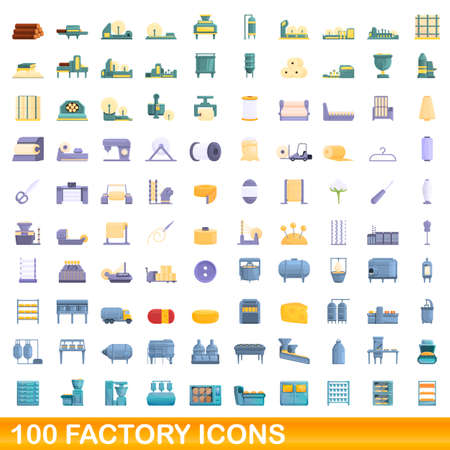 100 factory icons set. Cartoon illustration of 100 factory icons vector set isolated on white background