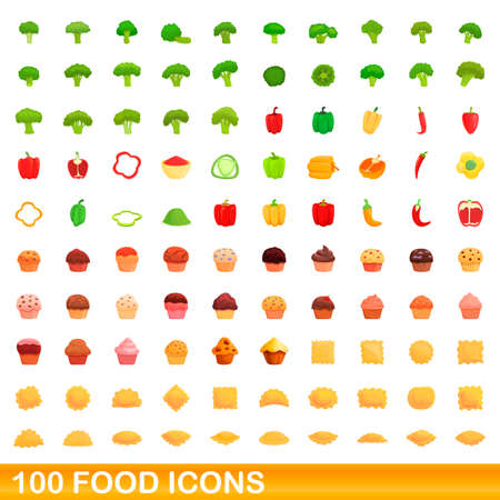 100 food icons set. Cartoon illustration of 100 food icons vector set isolated on white background Vettoriali