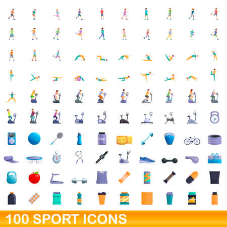 100 sport icons set. Cartoon illustration of 100 sport icons vector set isolated on white background Vettoriali