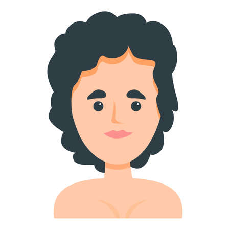 Woman with black curly hair icon. Cartoon of Woman with black curly hair vector icon for web design isolated on white background Vettoriali