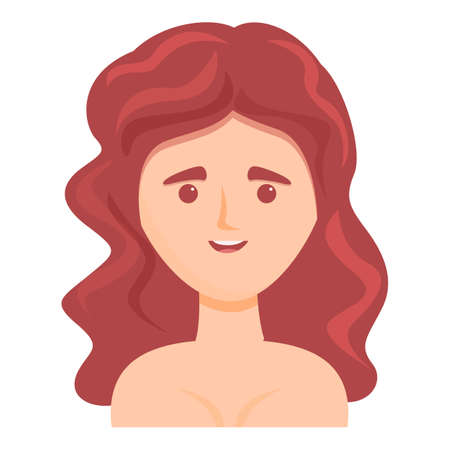 Woman with wavy hair icon. Cartoon of Woman with wavy hair vector icon for web design isolated on white background