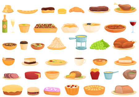 French cuisine icons set. Cartoon set of french cuisine vector icons for web design