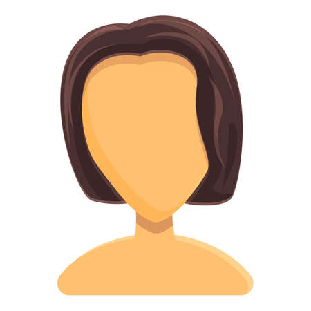 Short female hairstyle icon. Cartoon of Short female hairstyle vector icon for web design isolated on white background