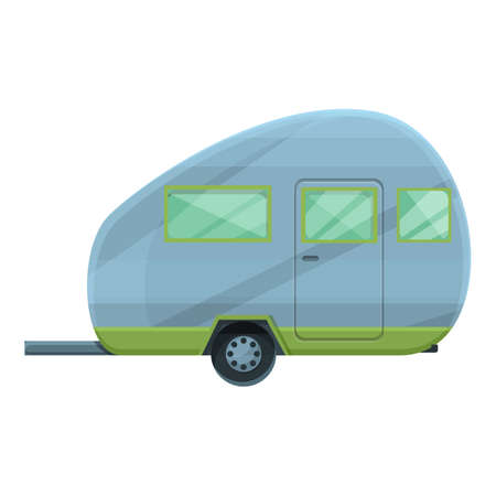 Camping trailer icon. Cartoon of Camping trailer vector icon for web design isolated on white background Vettoriali