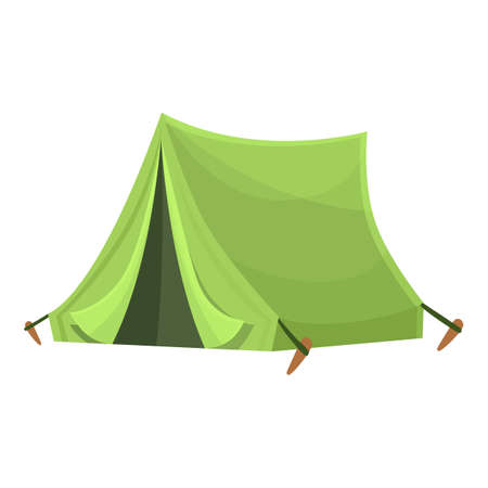 Green tent icon. Cartoon of Green tent vector icon for web design isolated on white background Vettoriali