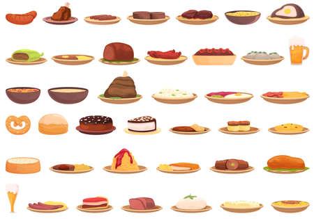 German cuisine icons set. Cartoon set of German cuisine vector icons for web design