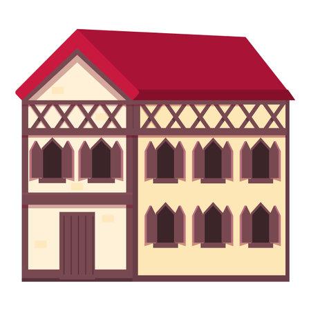 Medieval house icon cartoon vector. City town home. Wood village house Vecteurs