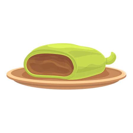 Vegetable roll icon cartoon vector. Chicken wrap. Vegetable food Ilustracje wektorowe
