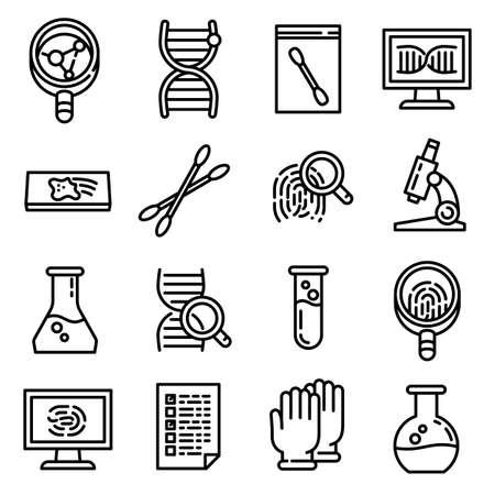 Forensic laboratory icons set. Outline set of forensic laboratory vector icons for web design isolated on white background Vektorové ilustrace