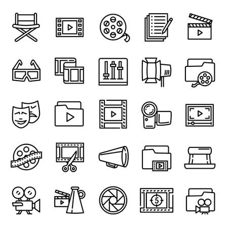 Film production icon. Outline film production vector icon for web design isolated on white background