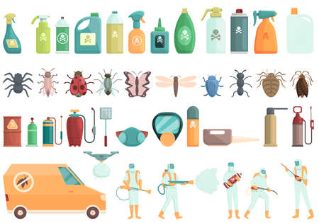 Chemical control icons set cartoon vector. Quality test. Water safety