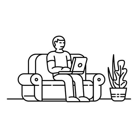 Home sofa working icon. Outline home sofa working vector icon for web design isolated on white background