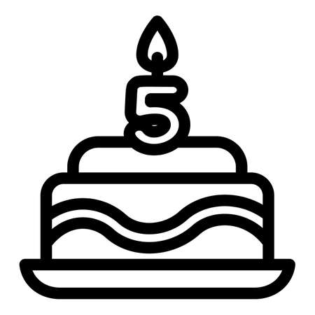 Birthday cake icon. Outline birthday cake vector icon for web design isolated on white background 向量圖像