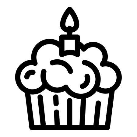 Birthday cupcake icon. Outline birthday cupcake vector icon for web design isolated on white background