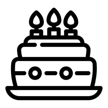 Birthday cake party icon. Outline birthday cake party vector icon for web design isolated on white background