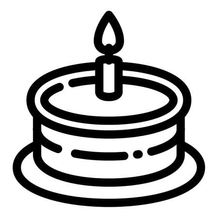 One candle cake icon. Outline one candle cake vector icon for web design isolated on white background