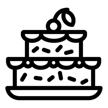 Cherry on birthday cake icon. Outline cherry on birthday cake vector icon for web design isolated on white background