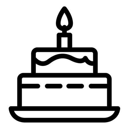 Burning candle birthday cake icon. Outline burning candle birthday cake vector icon for web design isolated on white background 向量圖像