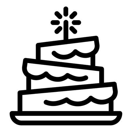 Funny birthday cake icon. Outline funny birthday cake vector icon for web design isolated on white background