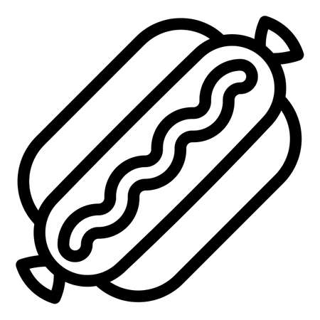 American hot dog icon. Outline american hot dog vector icon for web design isolated on white background